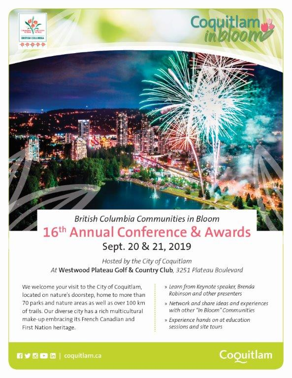 September 20 & 21, 2019 – British Columbia Communities in Bloom 16th Annual Conference & Awards